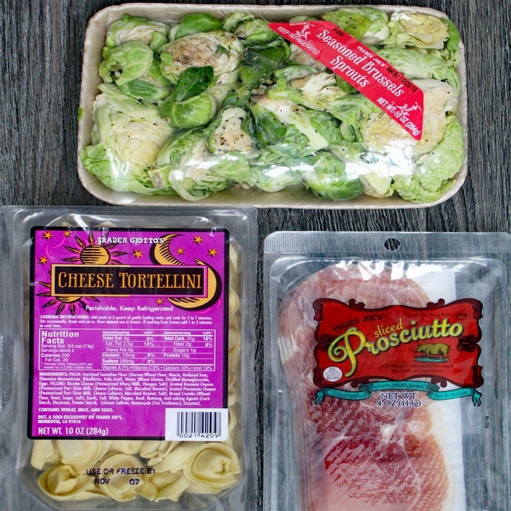 Seasoned Brussels sprouts, cheese tortellini, and prosciutto.