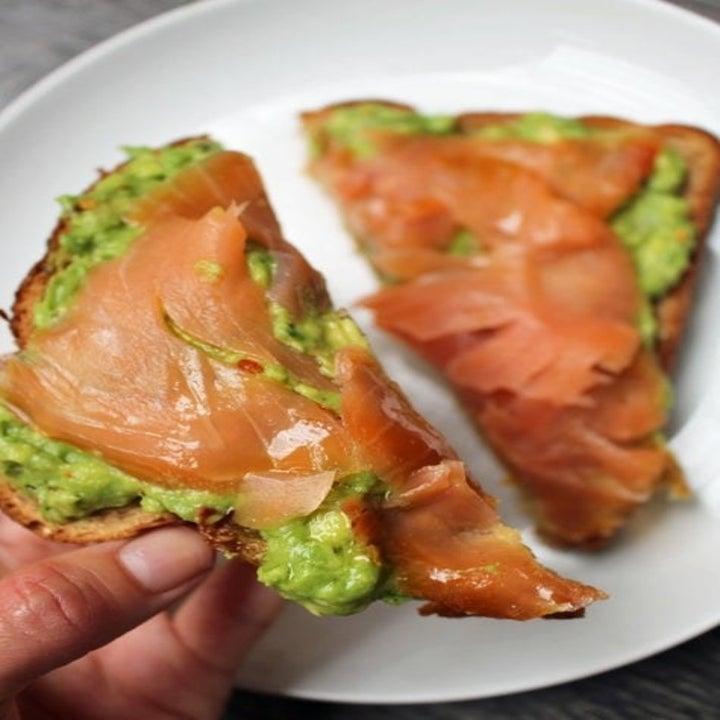 Avocado toast with smoked salmon on top.