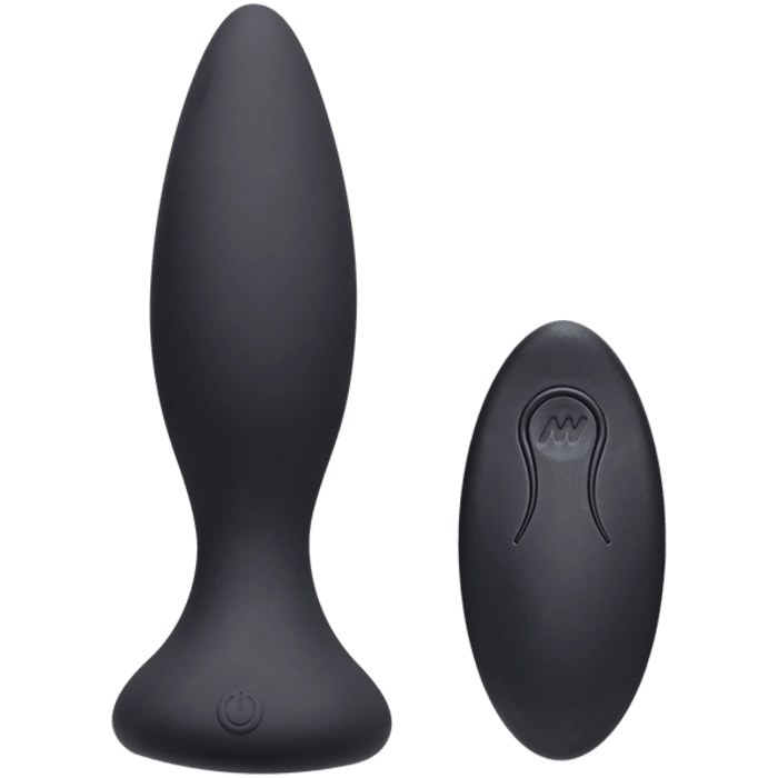 A close-up of the vibe and remote control