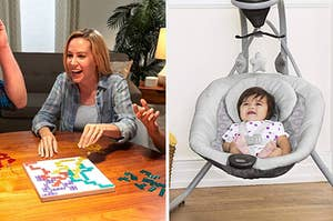 to the left: a model playing a board game, to the right: a baby in a swing