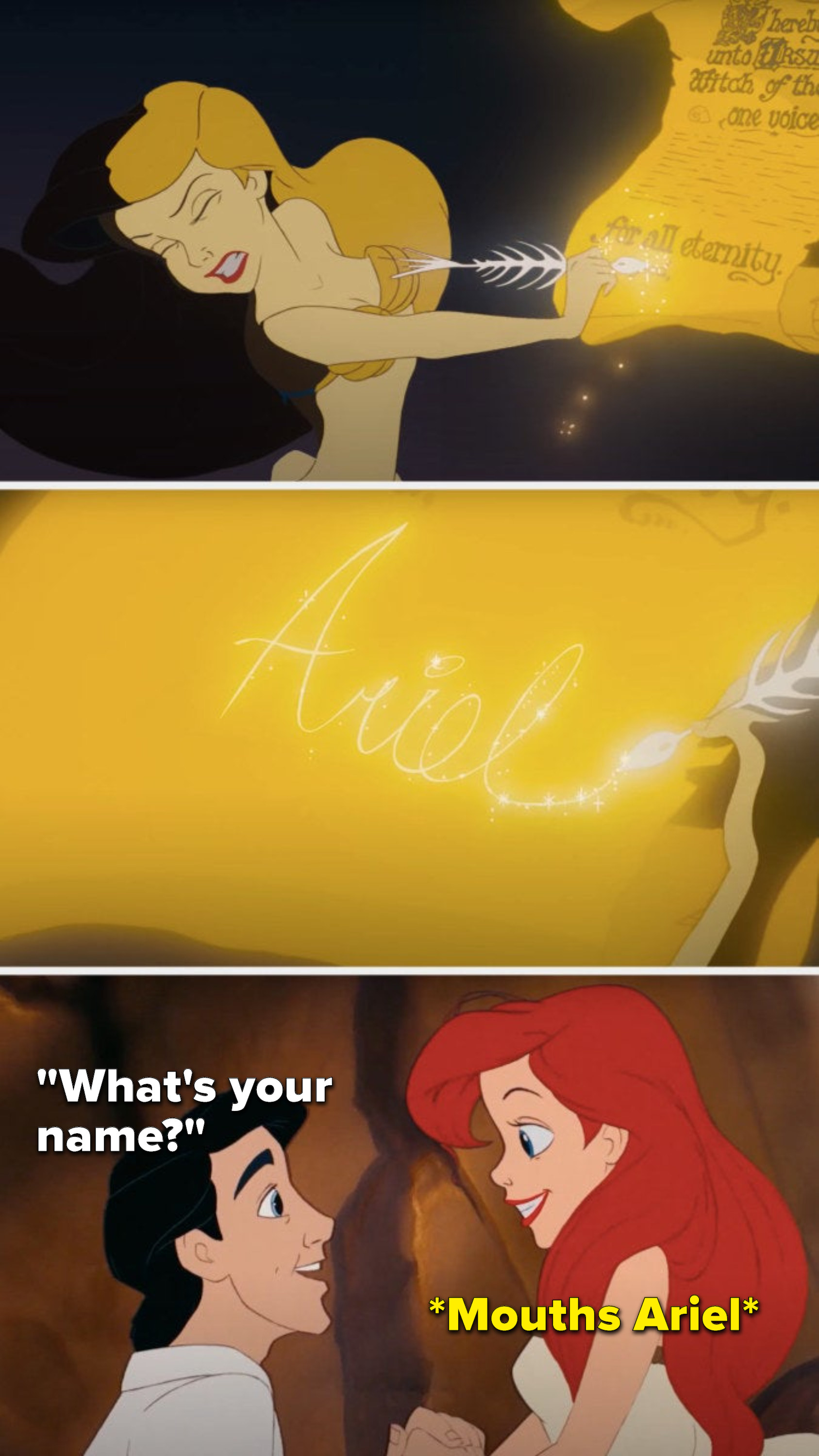 Ariel signs a contract, but when Eric asks her what her name is, she mouths Ariel