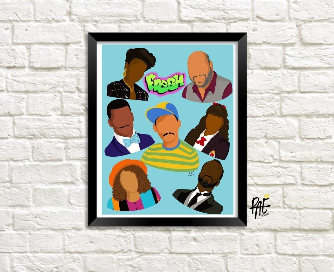 the print features faceless illustrations of will, aunt viv, uncle phil, carlton, hilary, ashley, and geoffrey