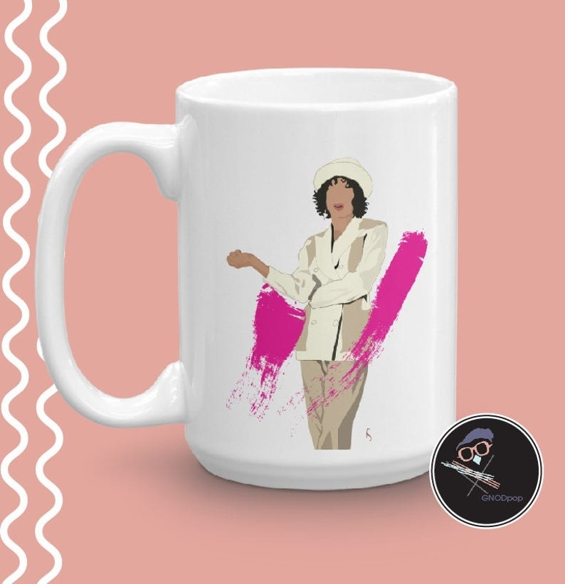 the mug with an illustration of hilary banks on it