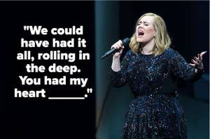 Adele singing with the text