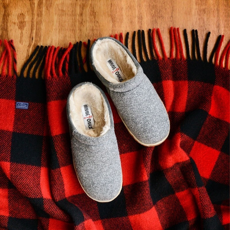 The slippers on a checkered blanket