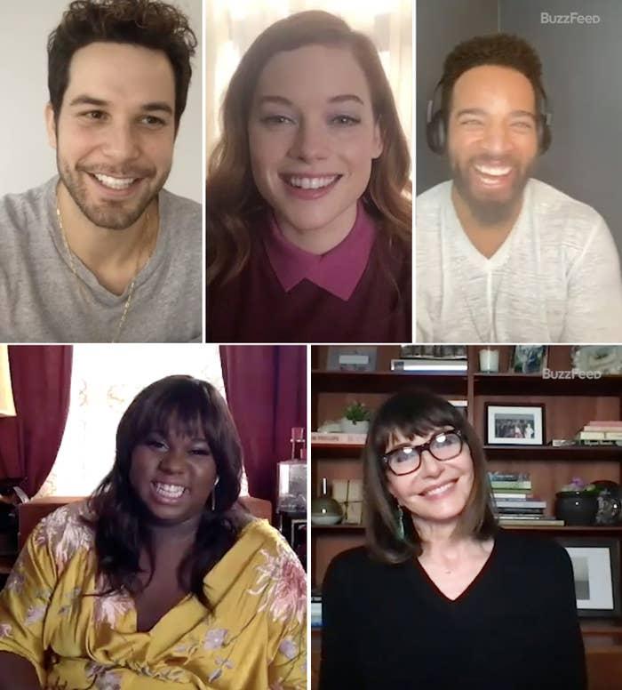 Skylar Astin, Jane Levy, John Clarence Stewart, Alex Newell, and Mary Steenburgen smiling