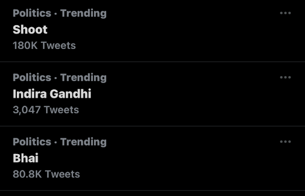"A screenshot shows ""Shoot"" trending on Twitter in India."