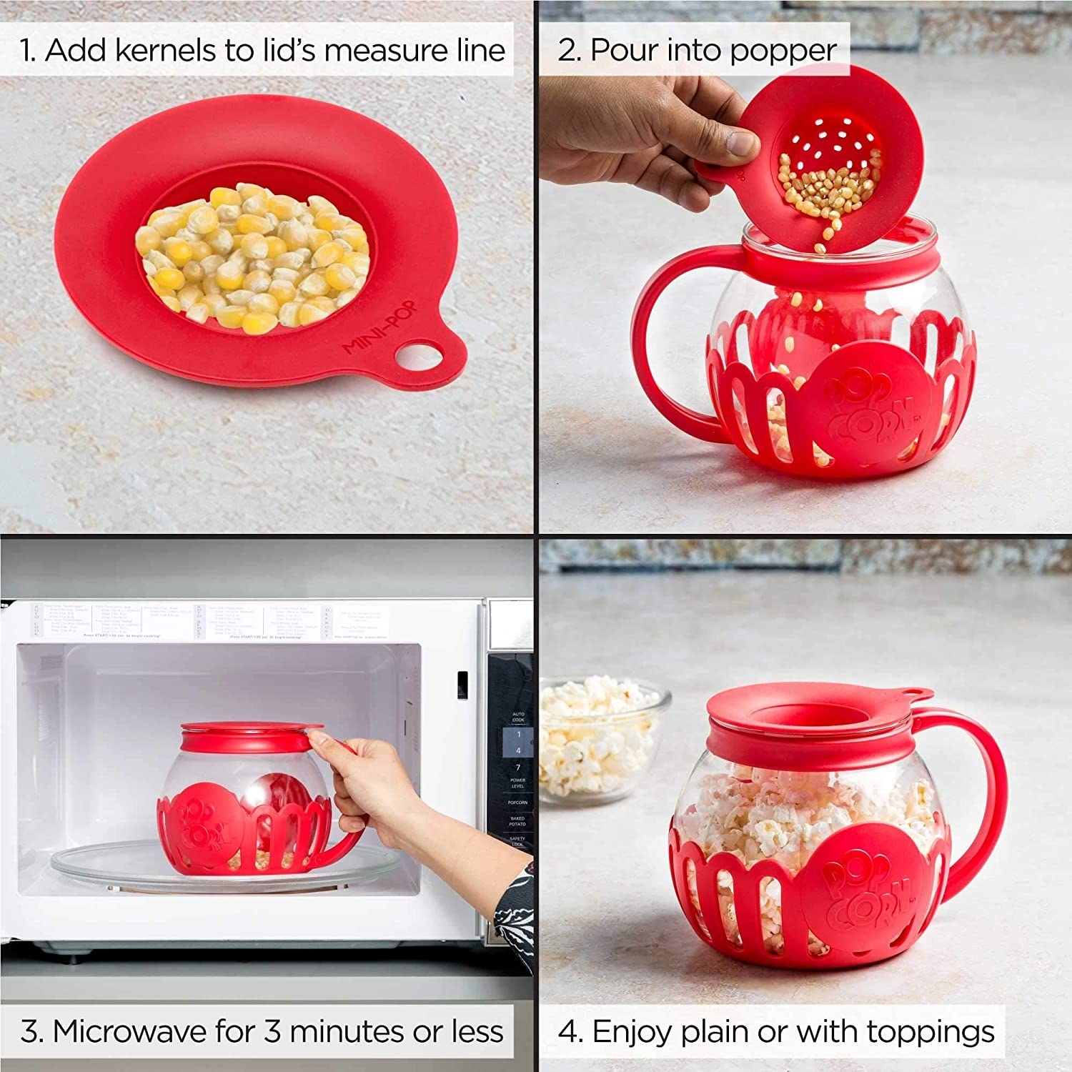 Model demonstrating how to use microwavable popcorn popper