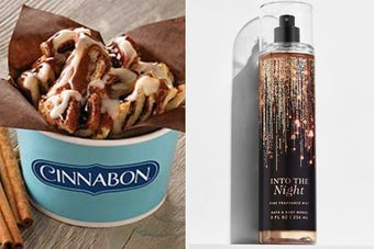 On the left, the Center of the Roll from Cinnabon, and on the right, an Into the Night body mist from Bath & Body Works