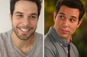 Skylar Astin and Max from
