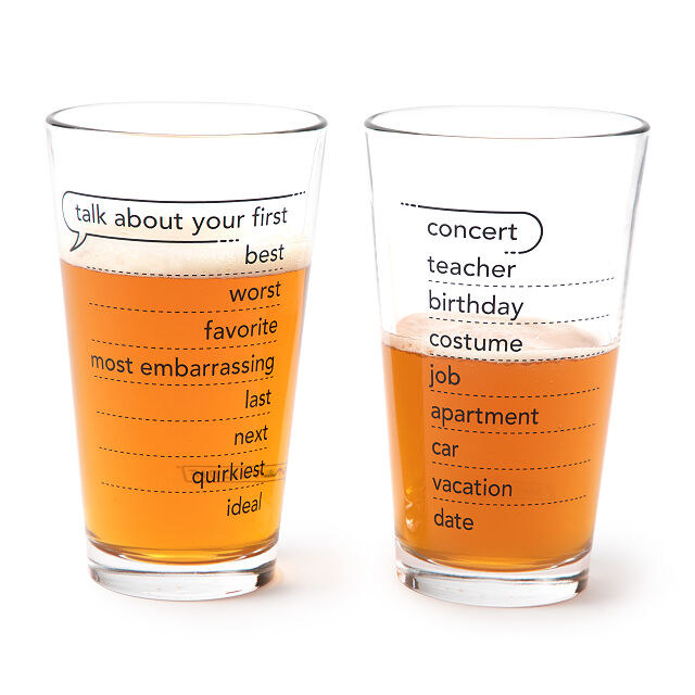 Two conversation pint glasses filled with beer
