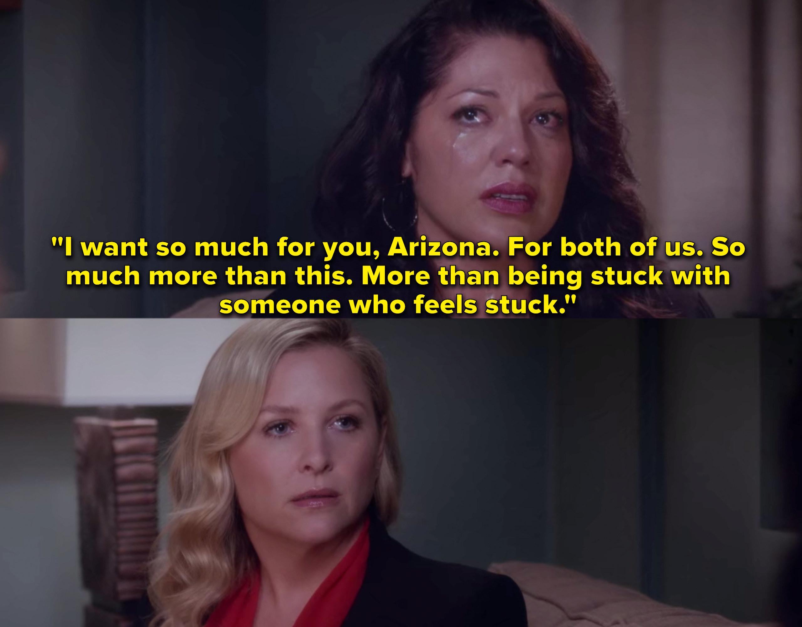"Sara Ramirez as Callie Torres and Jessica Capshaw as Arizona Robbins in the show ""Grey's Anatomy."""