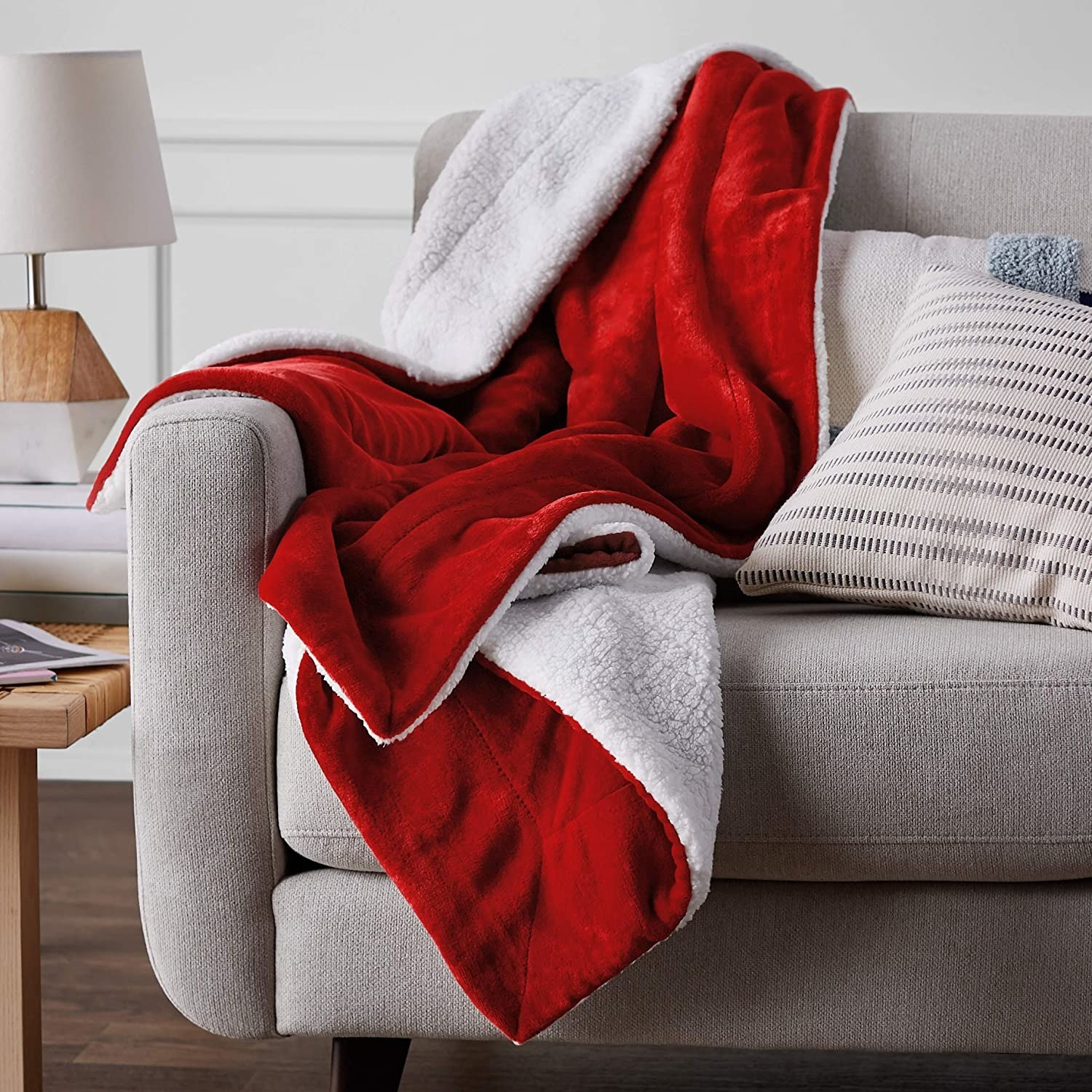 Sherpa throw placed on couch