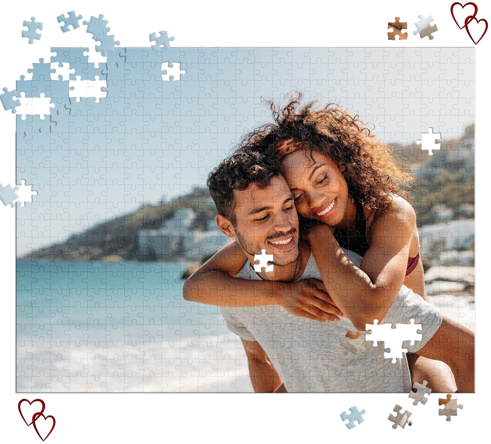 Customized photo puzzle with pieces missing on the sides