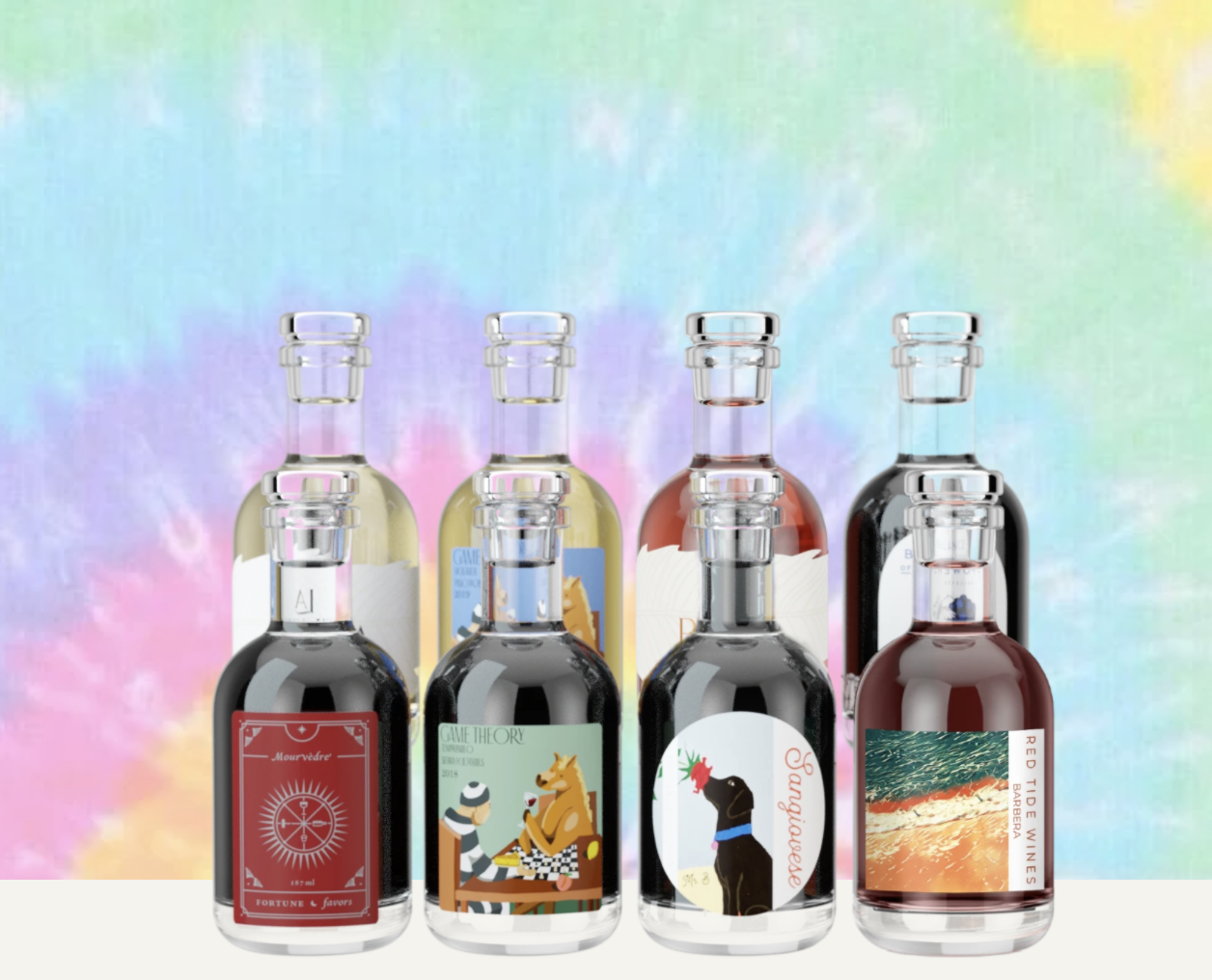 Product shot of eight mini bottles of wine on tie-dye background