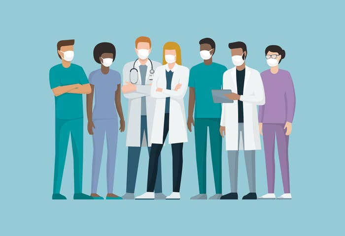 Cartoon of doctors and medical staff wearing surgical masks, they are standing together, coronavirus prevention concept