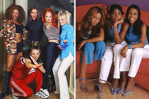 The Spice Girls are on the left posing with Destiny's Child on a couch on the right