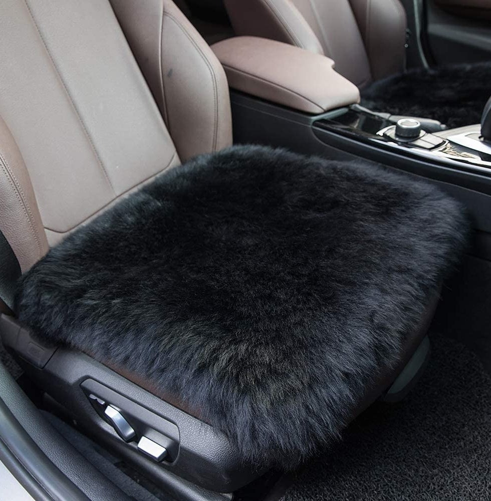 The fluffy car seat cover on a car seat