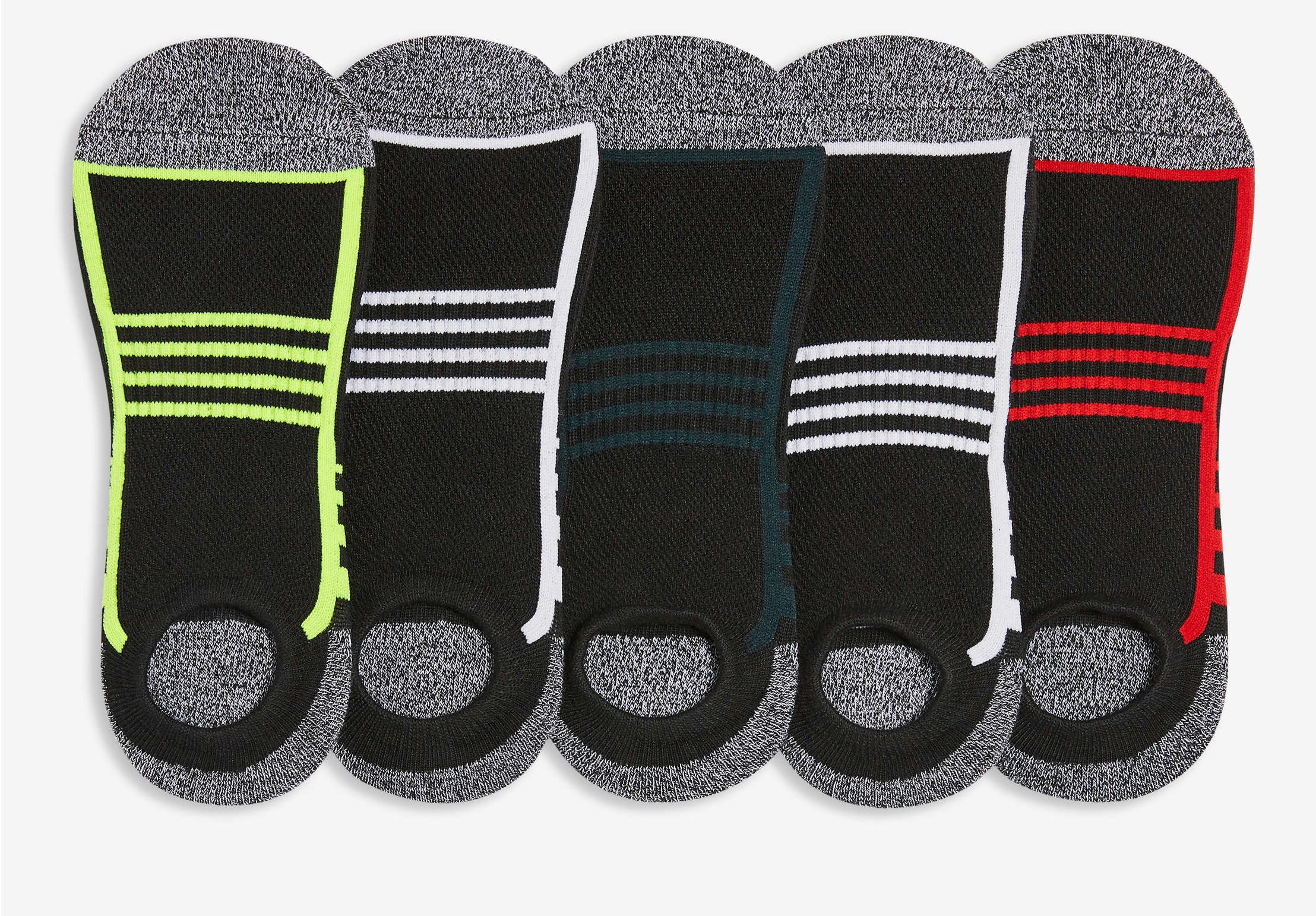Five pairs of no-show socks in a row