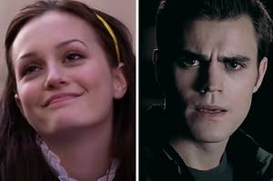"""Blair from """"Gossip Girl"""" is on the left smiling wide with a male character looking serious on the right"""