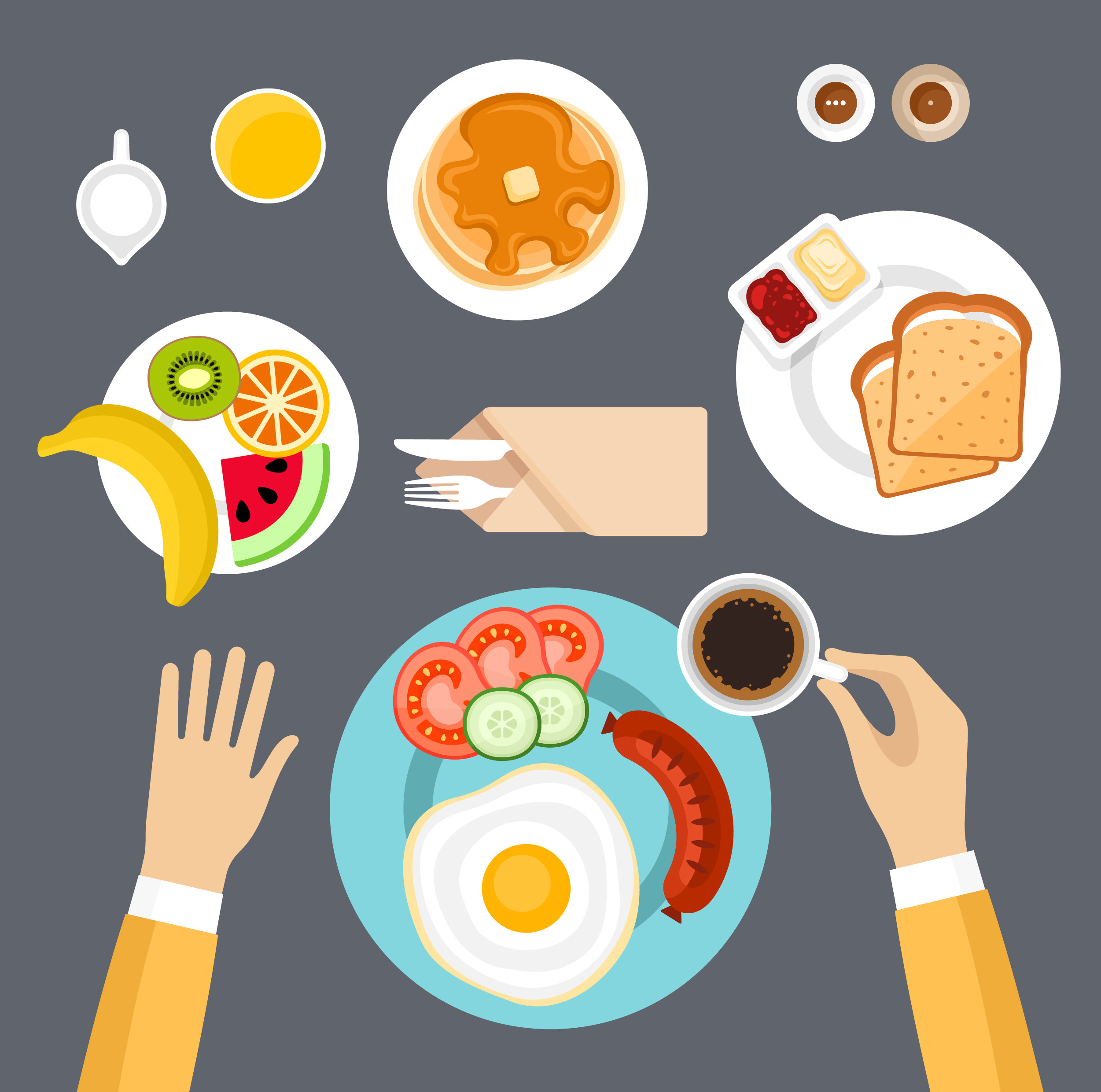 Illustration of someone eating a large and healthy breakfast