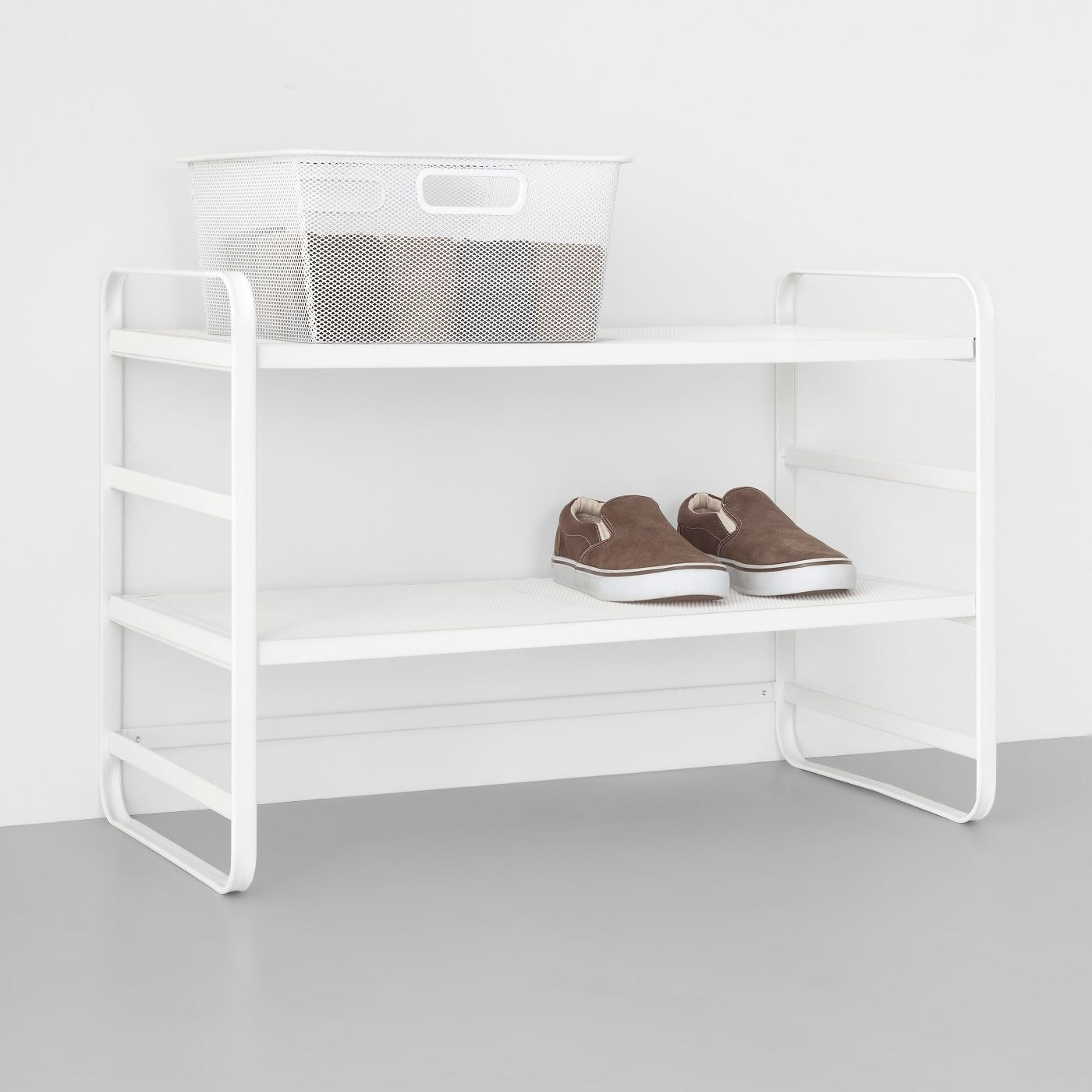 the white two tier wire mesh shoe rack