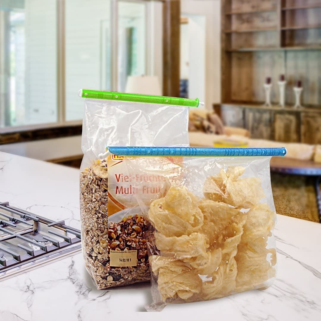 chips and granola in bags sealed with the bag sealers
