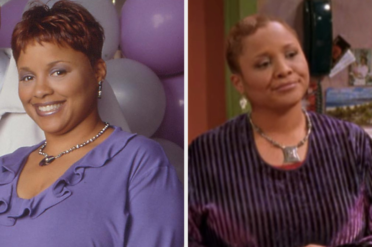 Yvette Renee Wilson is on the left posing in front of balloons while on the right in a restaurant setting