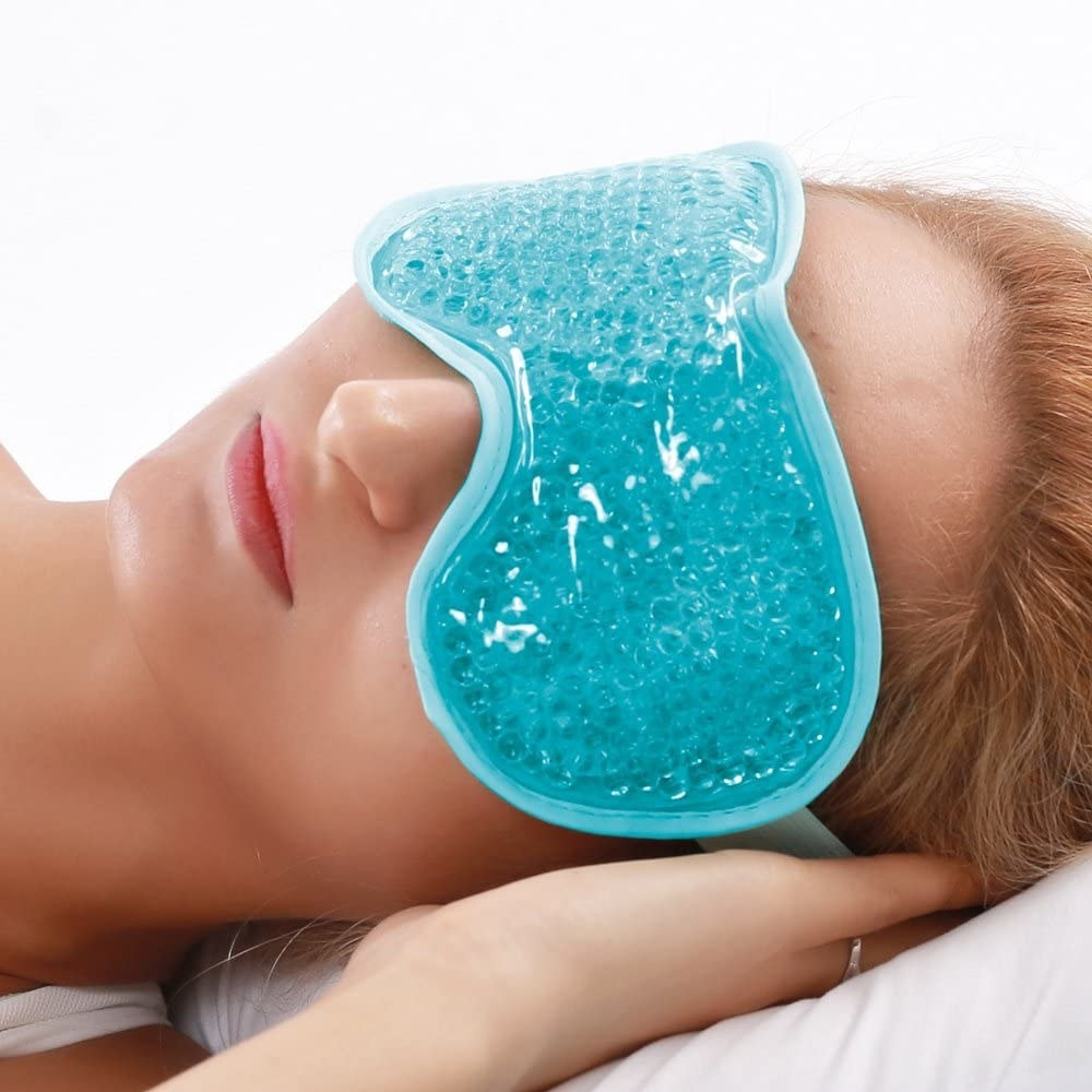 person lying down with the gel mask on their face