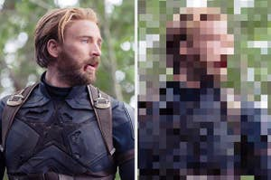 Steve Rogers beside an extremely blurry and pixelated photo of Steve Rogers