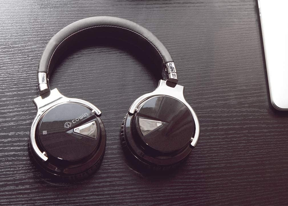 Black and silver over-the-ear headphones