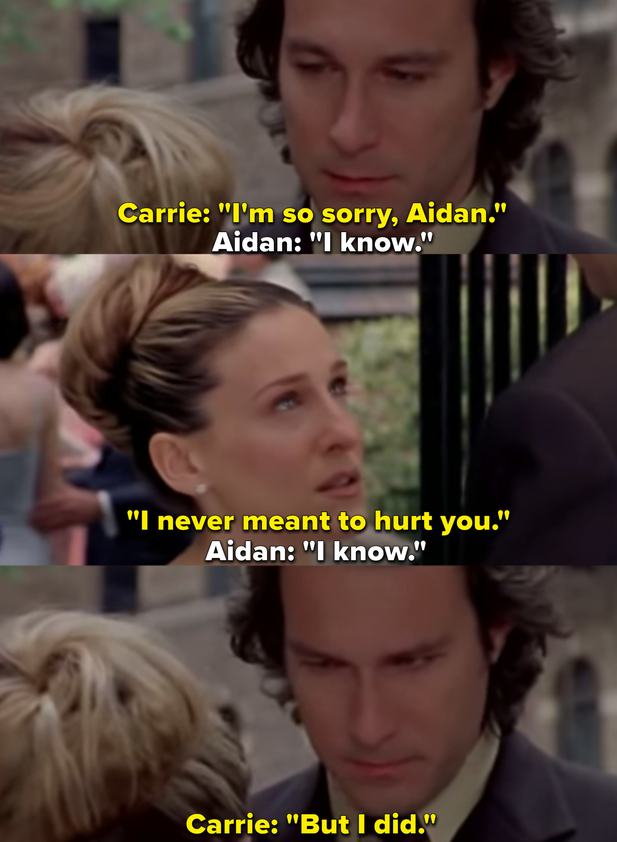 """Sarah Jessica Parker as Carrie Bradshaw and John Corbett as Aidan Shaw in the show """"Sex and the City."""""""