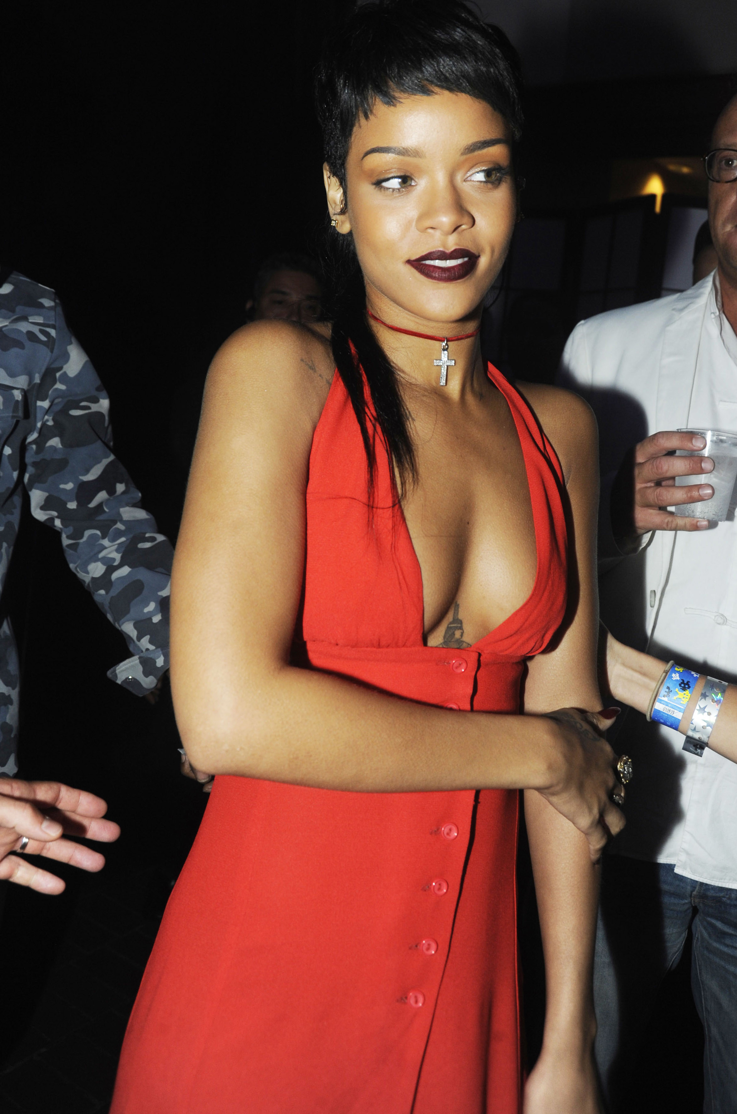 Rihanna attends the Alexander Wang after party during Spring 2014 Mercedes-Benz Fashion Week