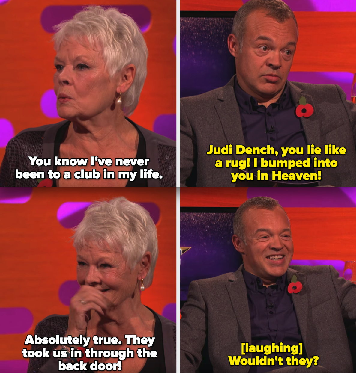 """Graham telling Judi Dench he bumped into her at a club called """"Heaven"""""""
