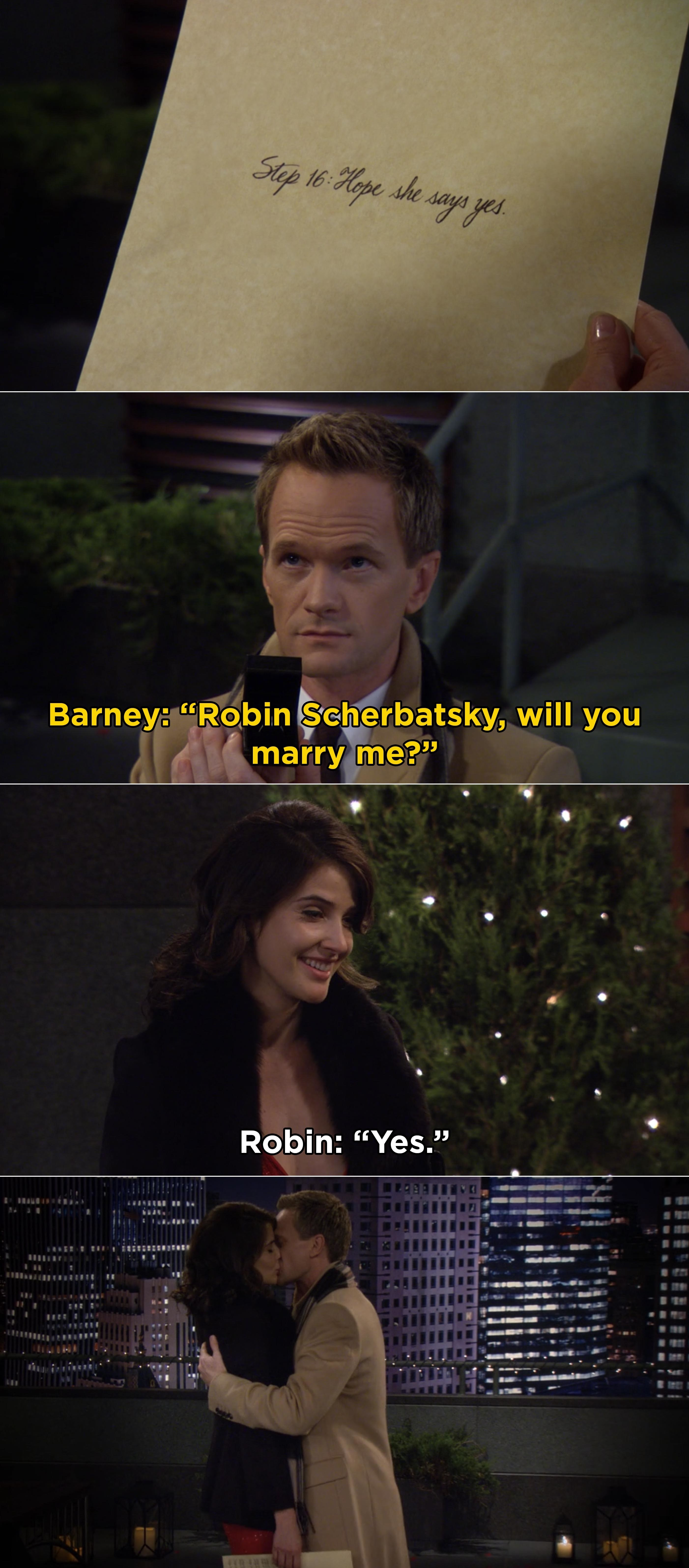 """Barney getting down on one knee and asking Robin to marry him and Robin saying, """"Yes"""""""