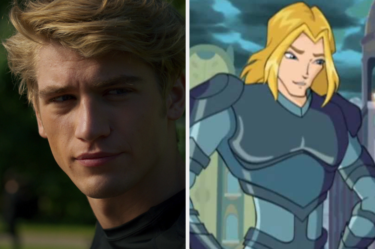 A closeup of Danny Griffin and the animated Sky who is dress in armor