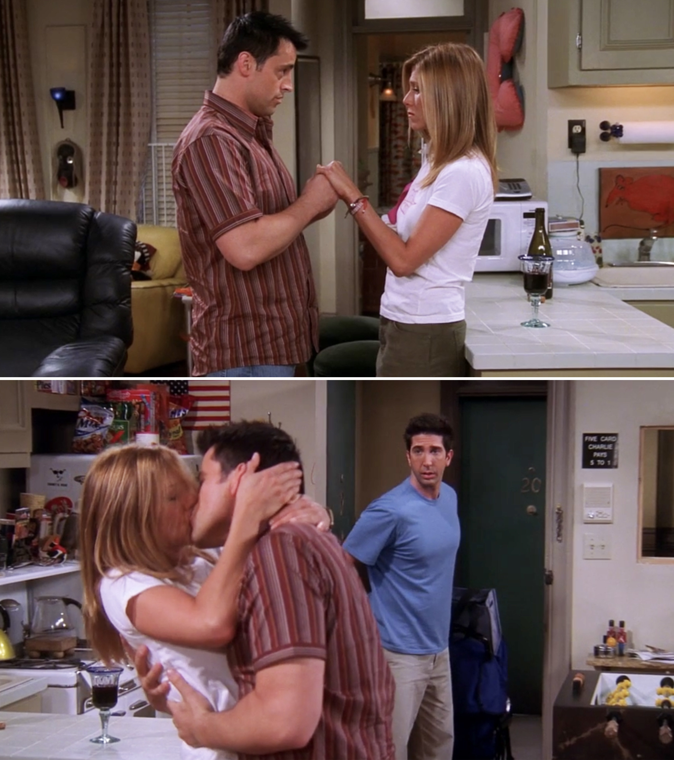 Rachel and Joey kissing in Joey's apartment and Ross walking in