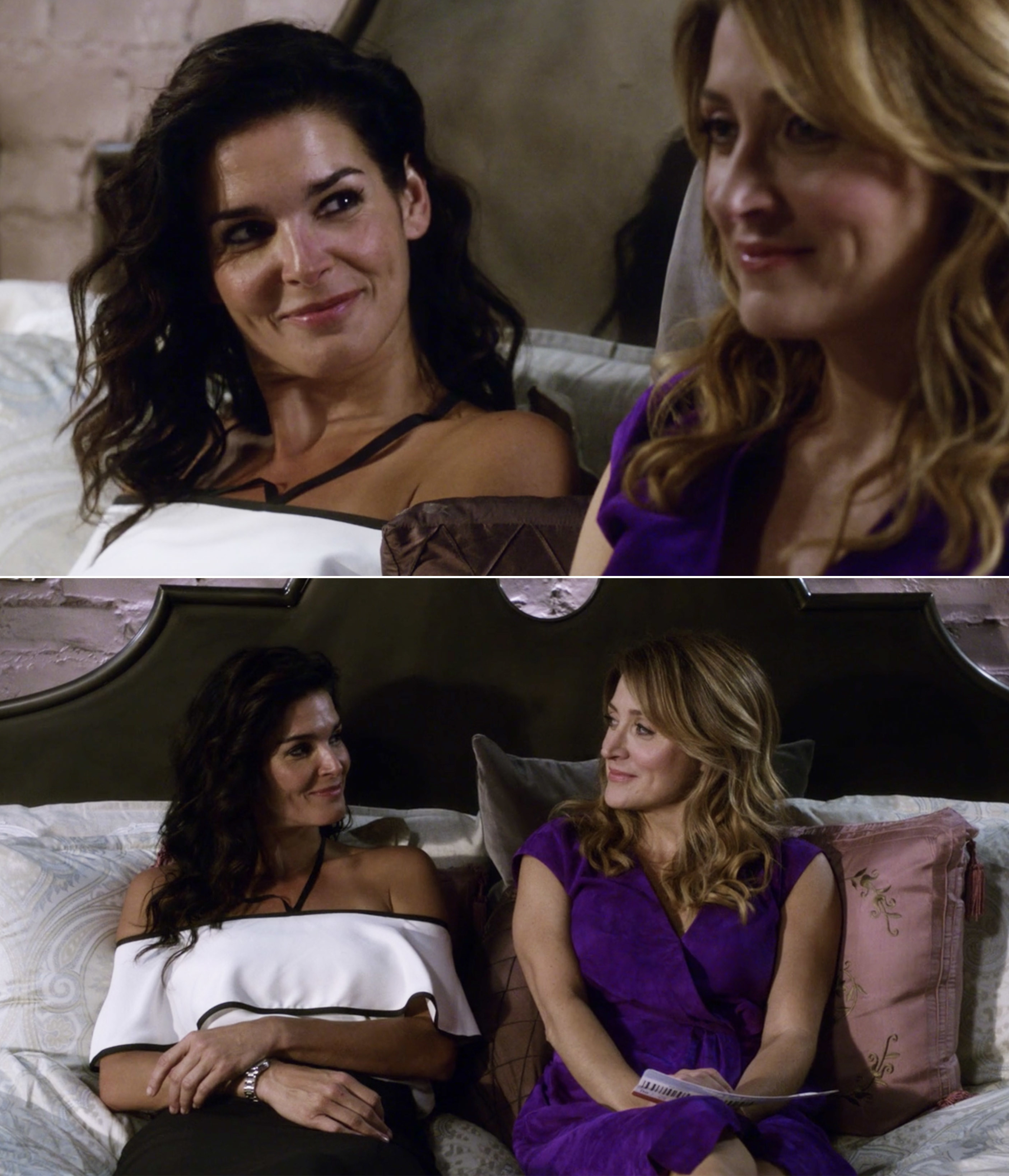 Rizzoli and Isles looking at each other while sitting on a bed next to each other
