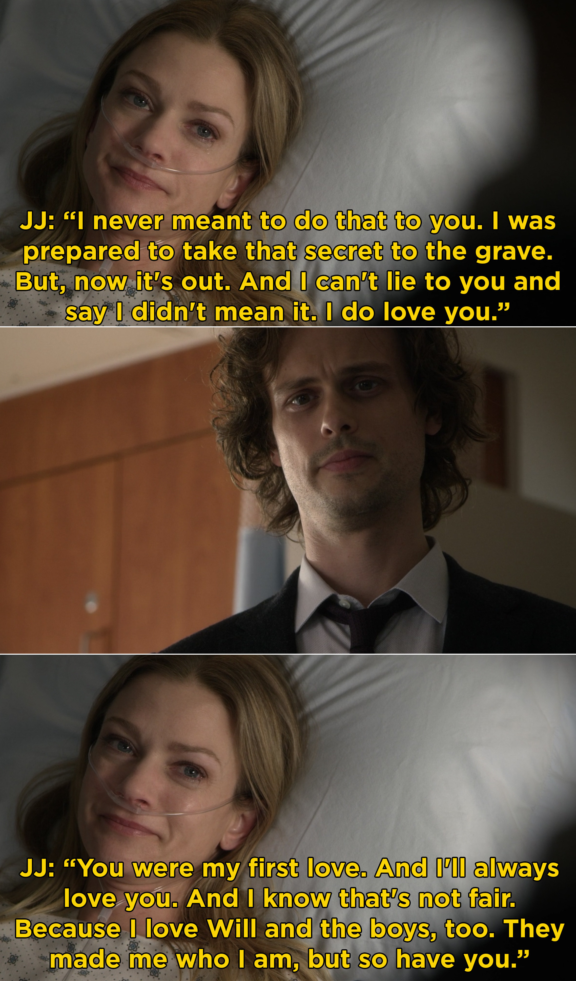 """JJ telling Reid that she meant it when she said that she loved him and that he was her """"first love"""""""