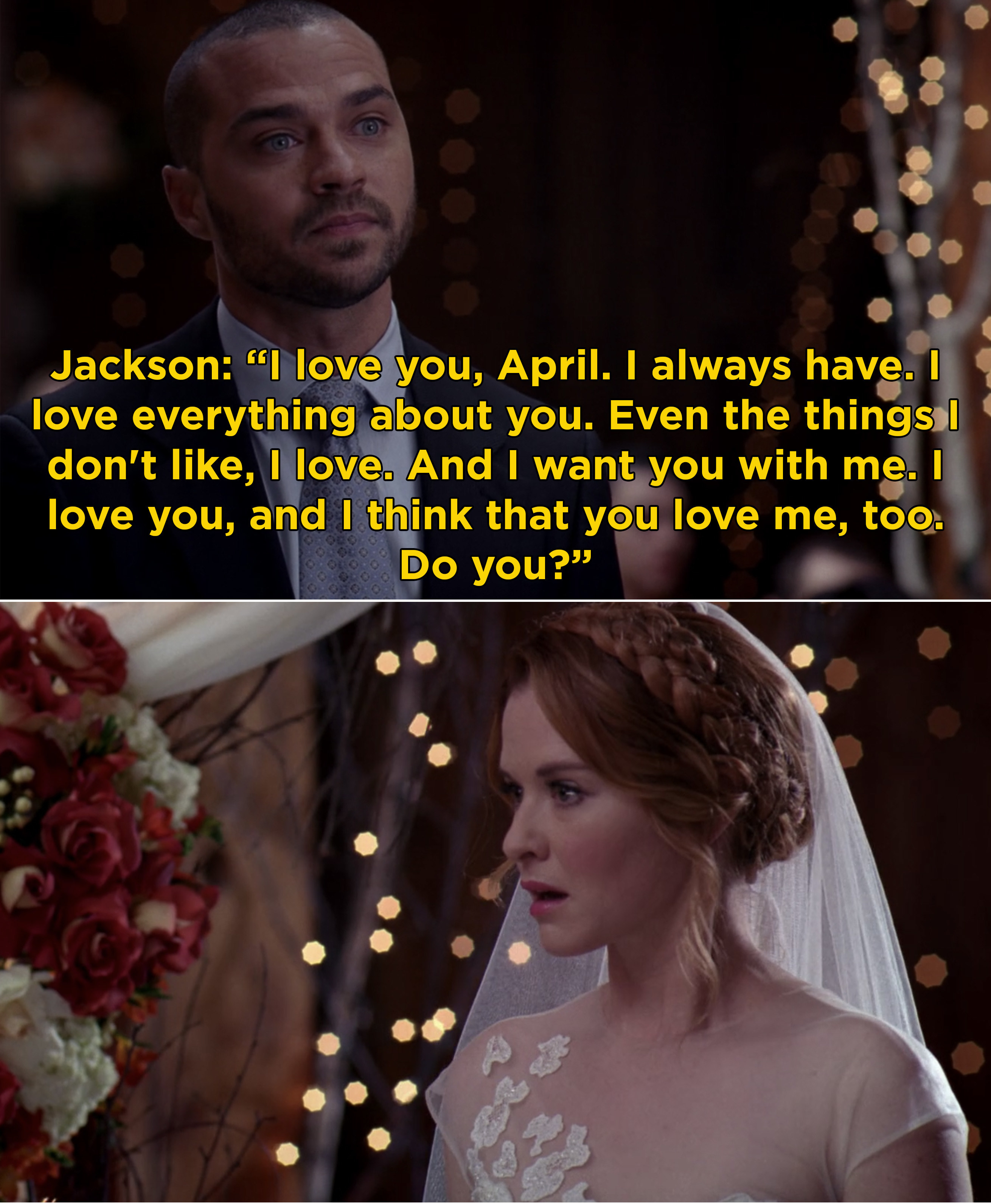 Jackson telling April that he loves her and asking if she feels the same way