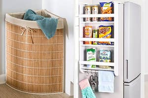 A tan corner hamper with a linen lining and a side-mounted fridge rack with three shelves and a dowel for hanging items