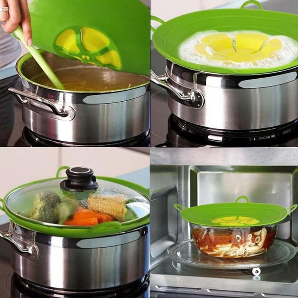the lid cover stopping water from boiling over, steaming vegetables, and covering food in the microwave