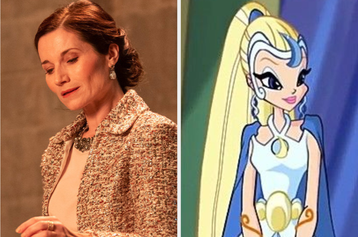 Kate Fleetwood wears a tweed jacket and a bejeweled necklace while the animated Queen Luna is dressed in a futuristic outfit that features a cape and a crescent moon headpiece