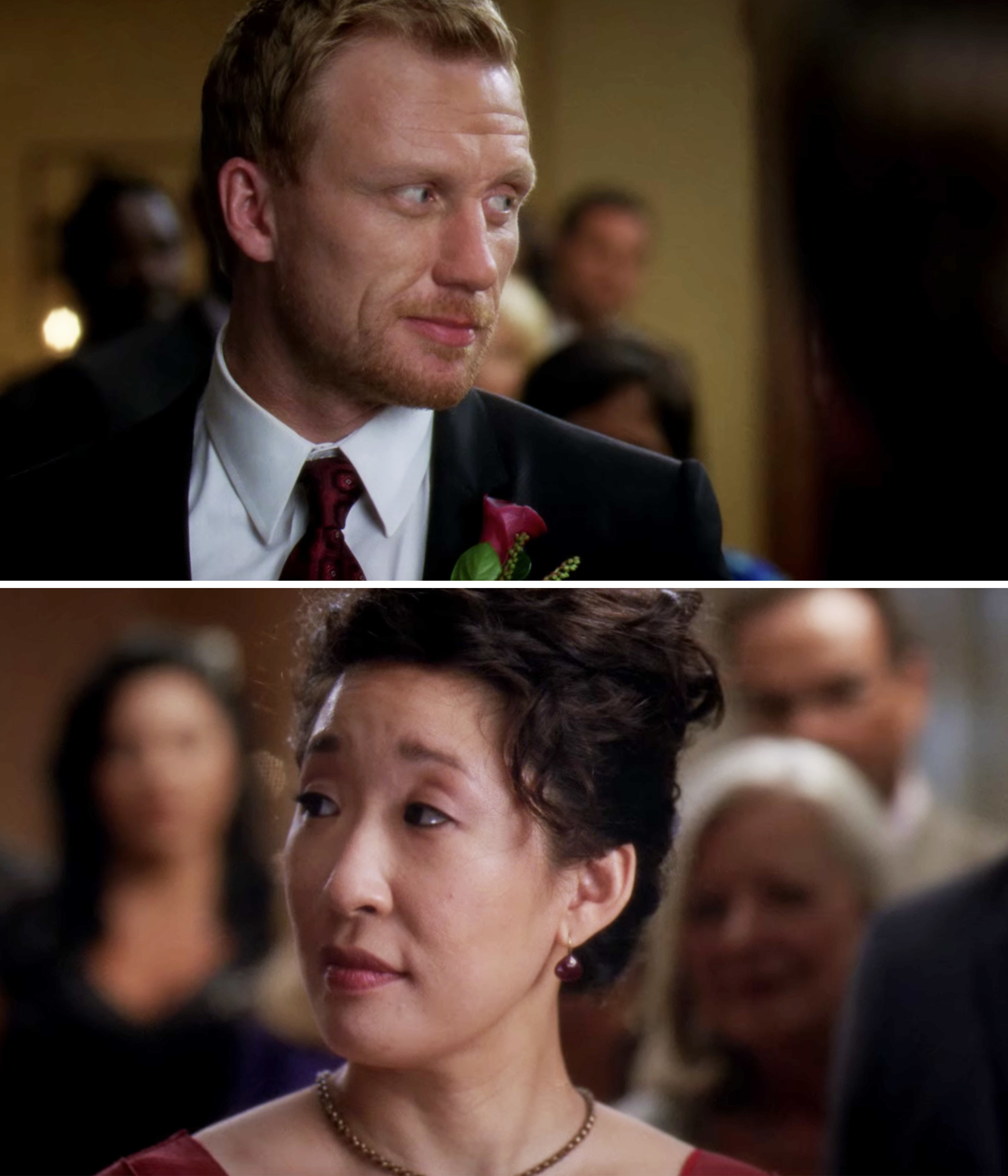 Cristina and Owen looking at each other on their wedding day