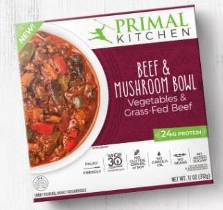 A box of beef and mushroom bowl from Primal Kitchen