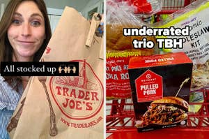 A shopper holding up a bag of Trader Joe's groceries