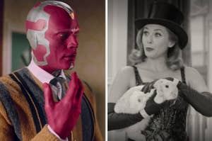 Side by side images of Vision and Wanda from Wandavision