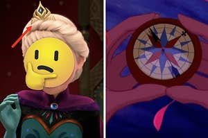 Elsa is on the left with an arrow pointing to a crown and a woman holding a compass on the right