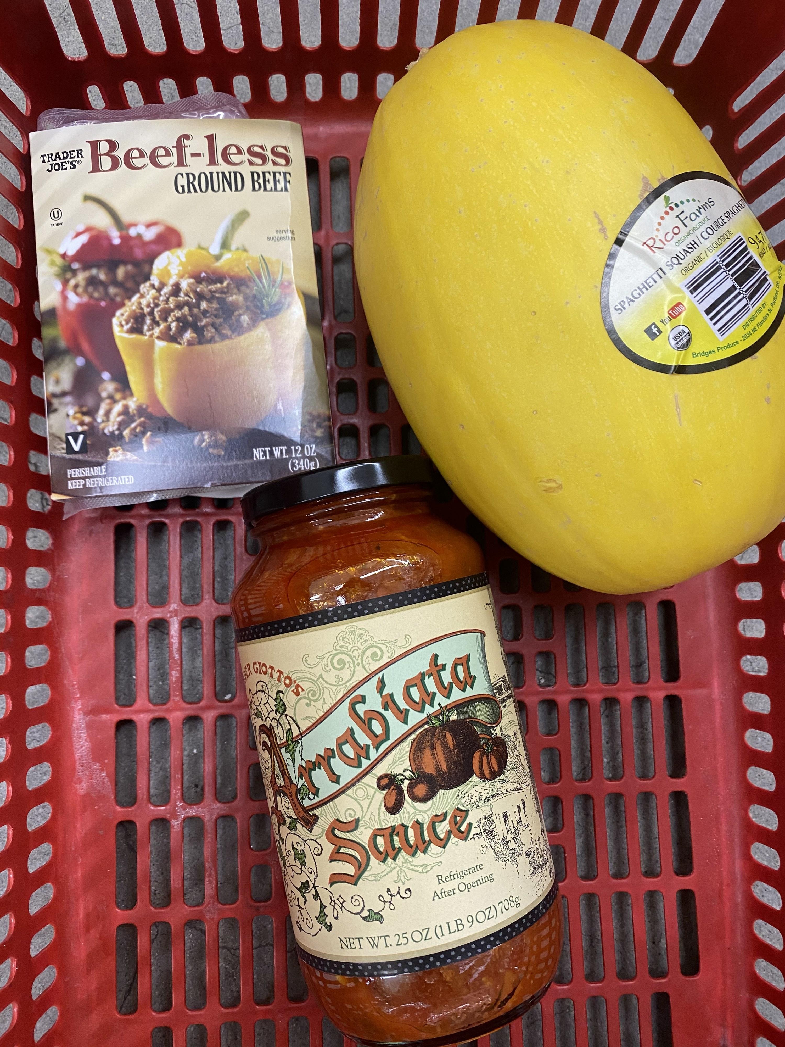 Beef-Less Ground Beef, Spaghetti Squash, and Arrabbiata Sauce