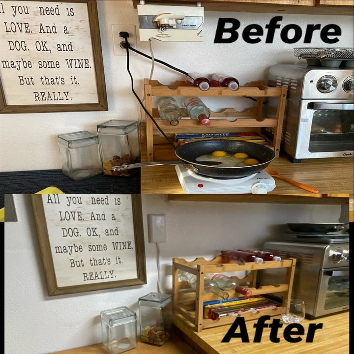 Before photo of a reviewer's messy cords in the kitchen and an after photo of the same outlet but all the cords are neatly hidden